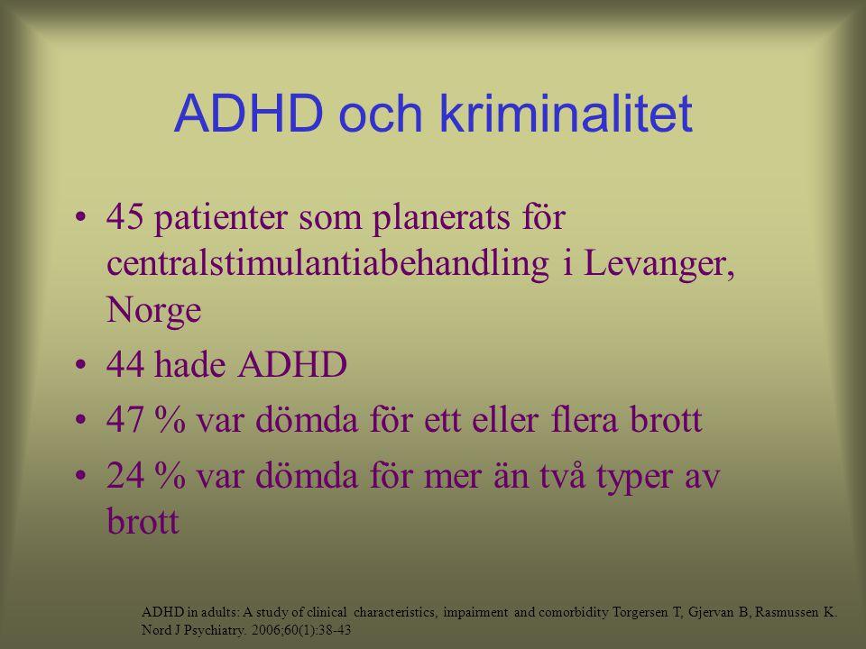 ADHD och kriminalitet 45 patienter som planerats för centralstimulantiabehandling i Levanger, Norge.