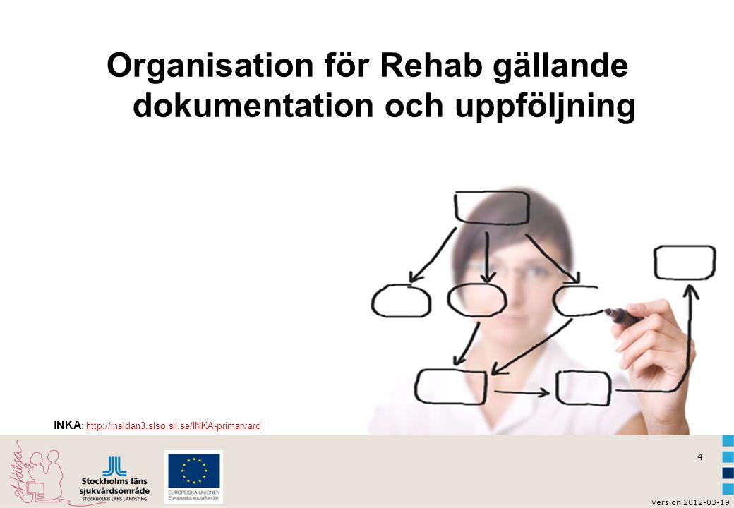 Organisation för Rehab gällande dokumentation och uppföljning