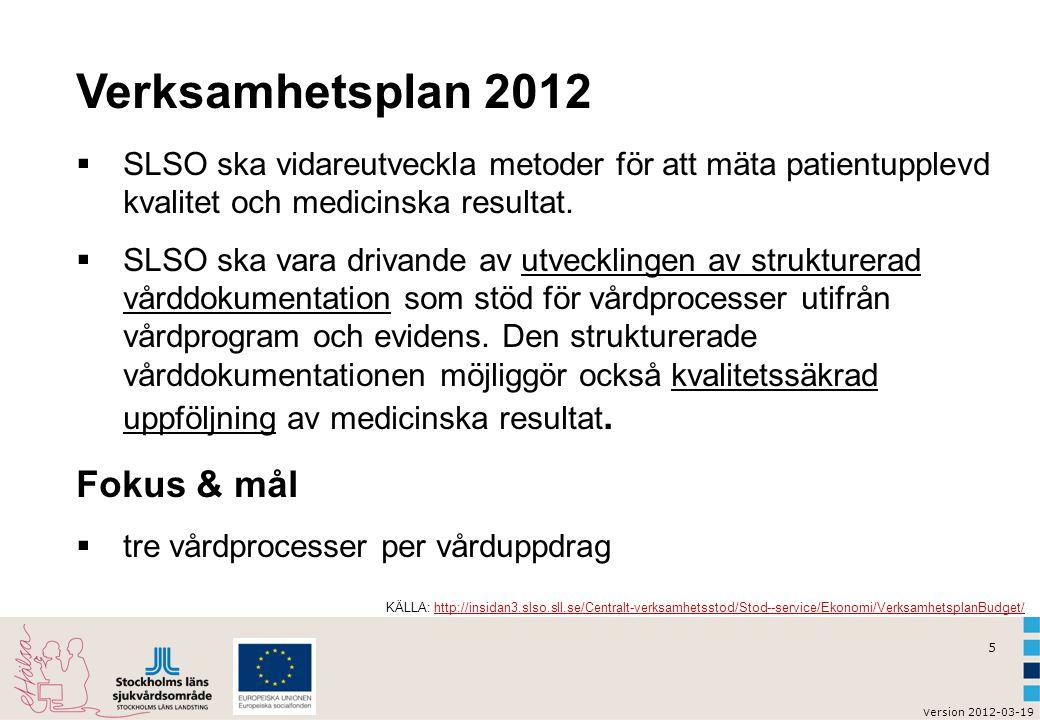 Verksamhetsplan 2012 Fokus & mål