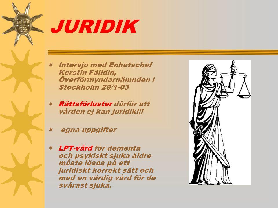 JURIDIK Intervju med Enhetschef Kerstin Fälldin, Överförmyndarnämnden i Stockholm 29/1-03. Rättsförluster därför att vården ej kan juridik!!!