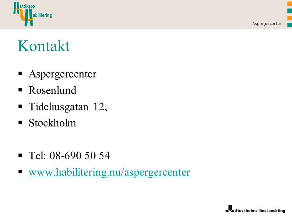 Kontakt Aspergercenter Rosenlund Tideliusgatan 12, Stockholm