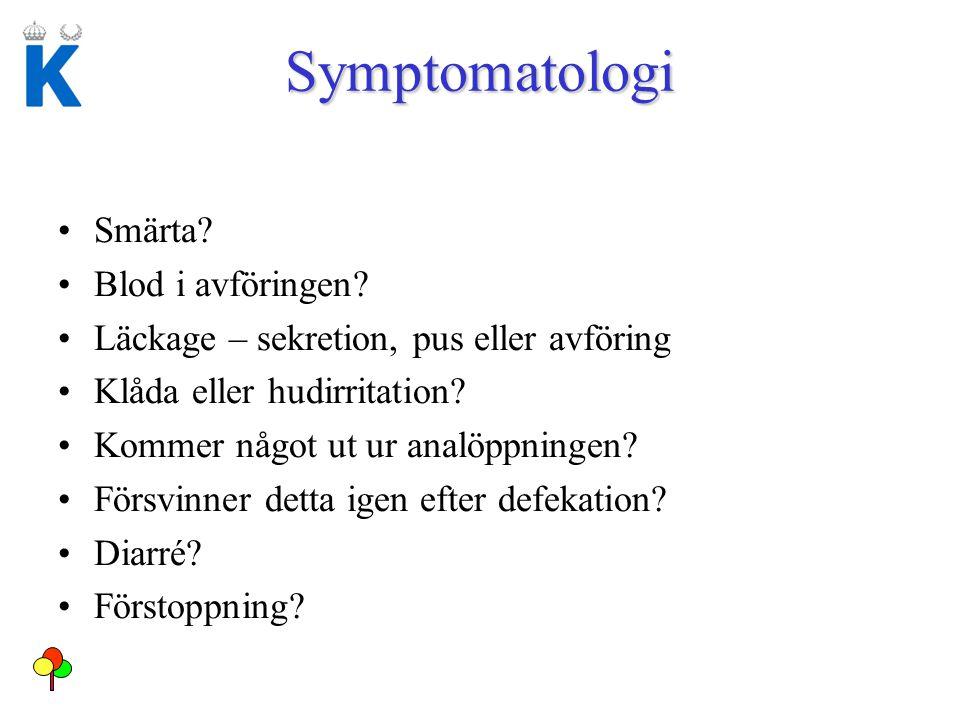Symptomatologi Smärta Blod i avföringen
