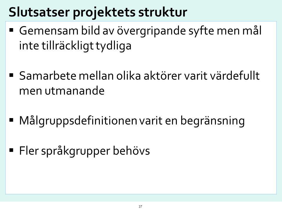 Slutsatser projektets struktur