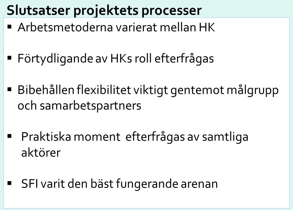 Slutsatser projektets processer