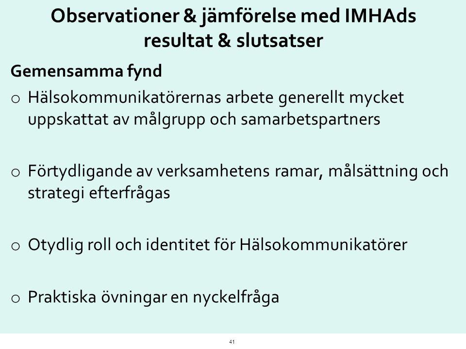 Observationer & jämförelse med IMHAds resultat & slutsatser
