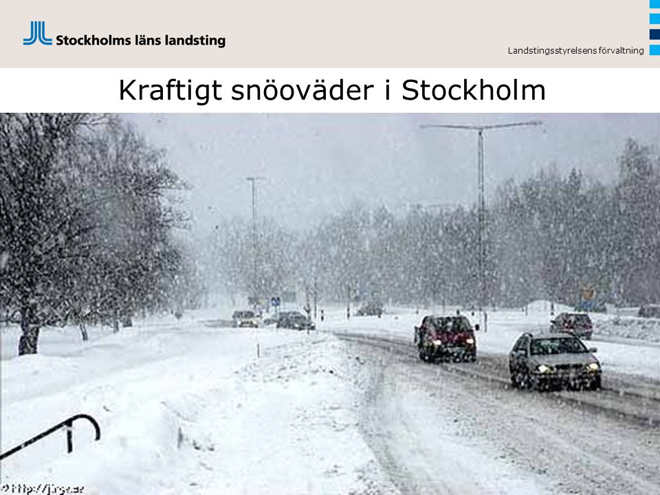 Kraftigt snöoväder i Stockholm