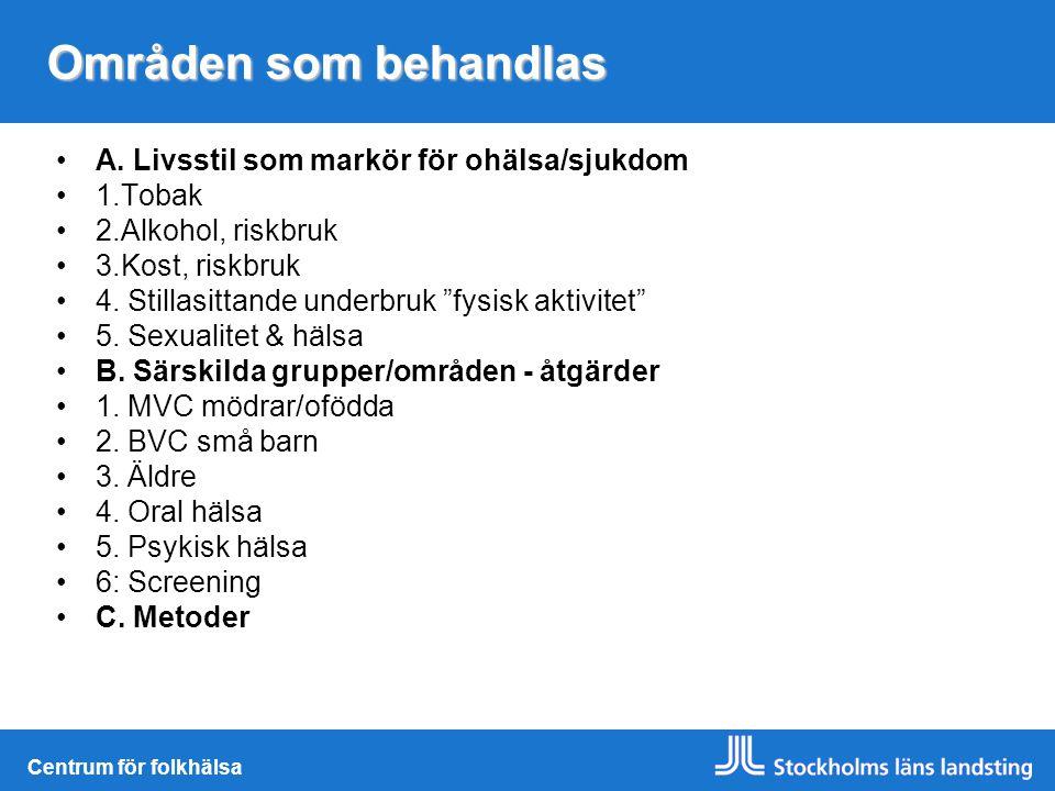 Områden som behandlas A. Livsstil som markör för ohälsa/sjukdom