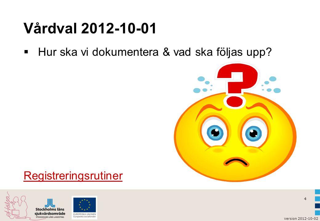Vårdval 2012-10-01 Hur ska vi dokumentera & vad ska följas upp