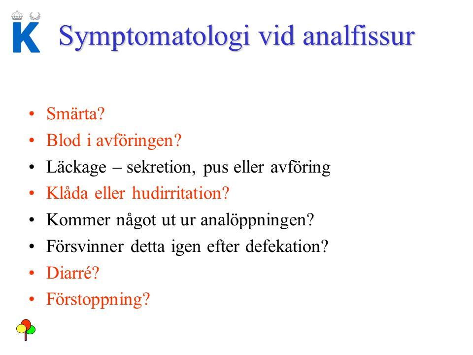 Symptomatologi vid analfissur