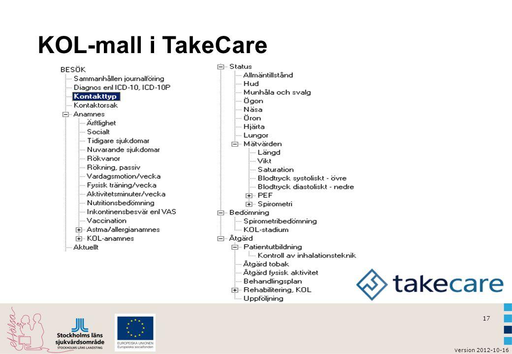 KOL-mall i TakeCare Klistra in skärmdump på KOL-mallen infälld från TakeCare.