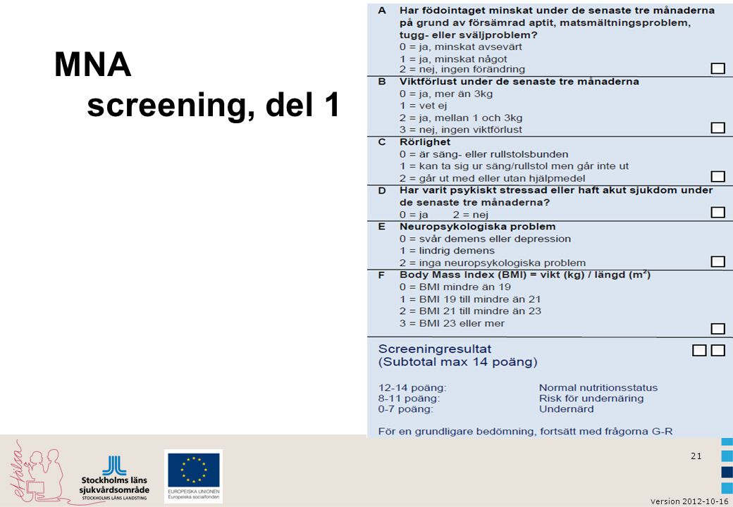 MNA screening, del 1