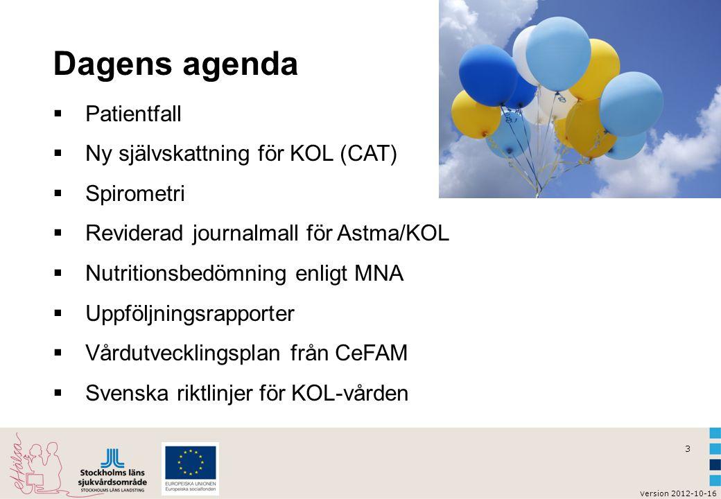 Dagens agenda Patientfall Ny självskattning för KOL (CAT) Spirometri