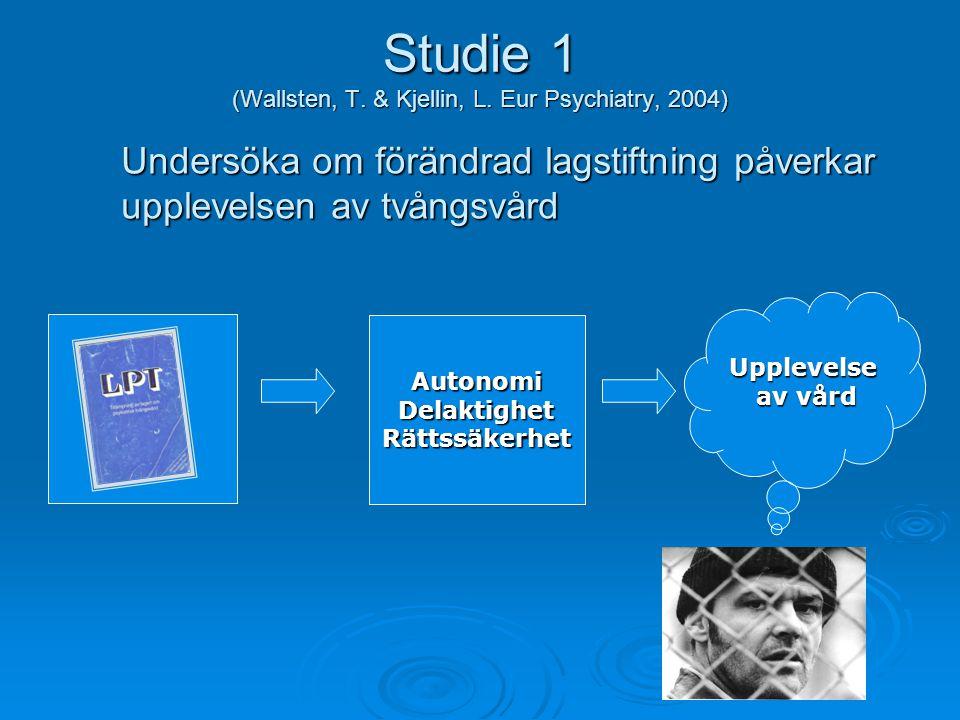 Studie 1 (Wallsten, T. & Kjellin, L. Eur Psychiatry, 2004)