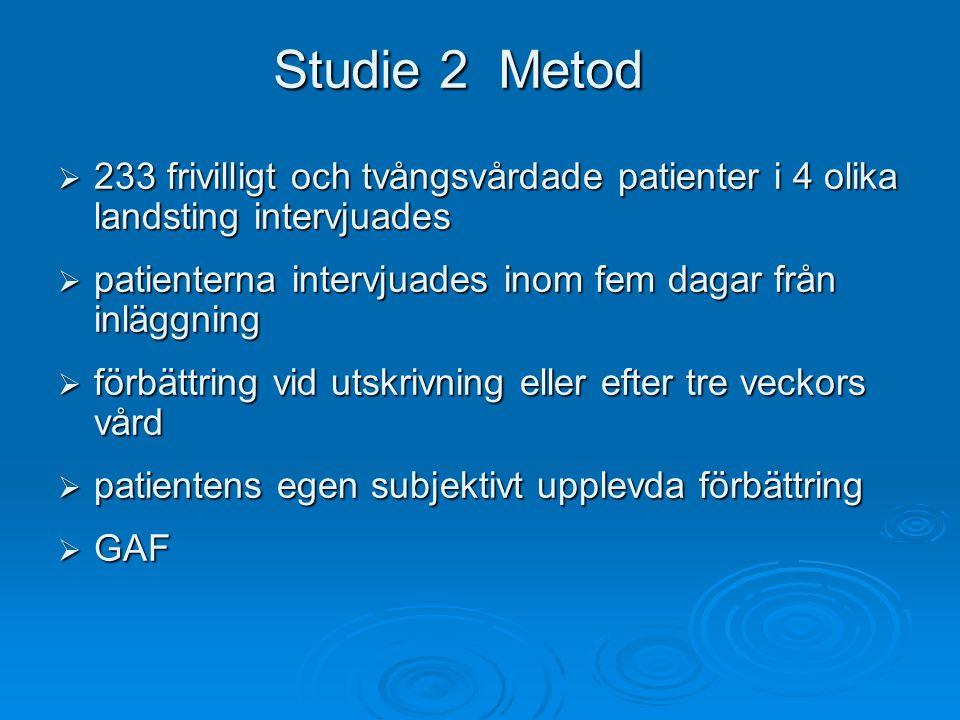 Studie 2 Metod 233 frivilligt och tvångsvårdade patienter i 4 olika landsting intervjuades. patienterna intervjuades inom fem dagar från inläggning.