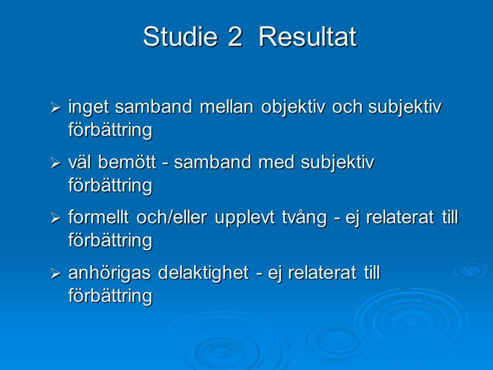 Studie 2 Resultat inget samband mellan objektiv och subjektiv förbättring. väl bemött - samband med subjektiv förbättring.