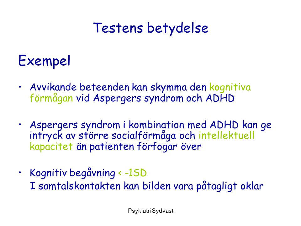 Testens betydelse Exempel