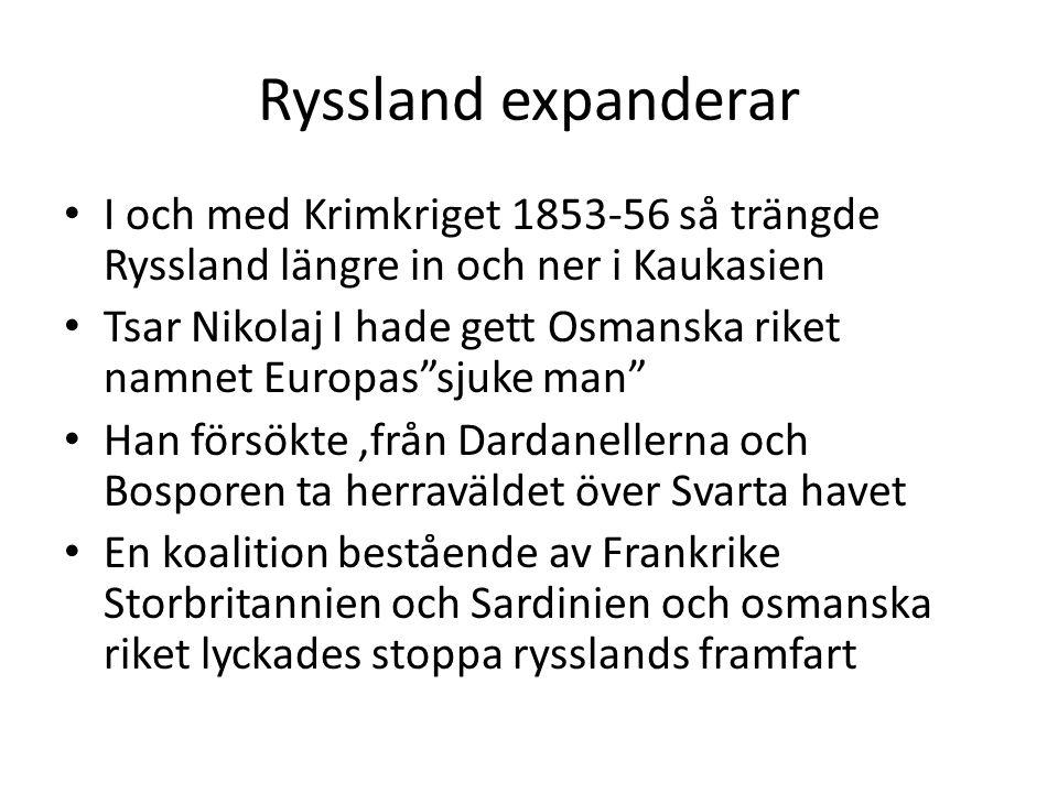 Ryssland expanderar I och med Krimkriget 1853-56 så trängde Ryssland längre in och ner i Kaukasien.