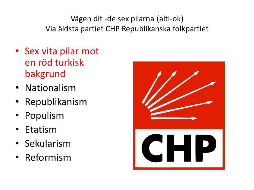Sex vita pilar mot en röd turkisk bakgrund