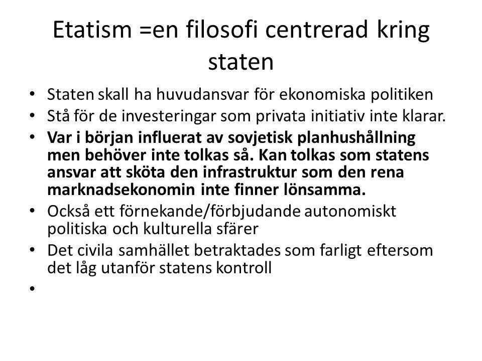 Etatism =en filosofi centrerad kring staten