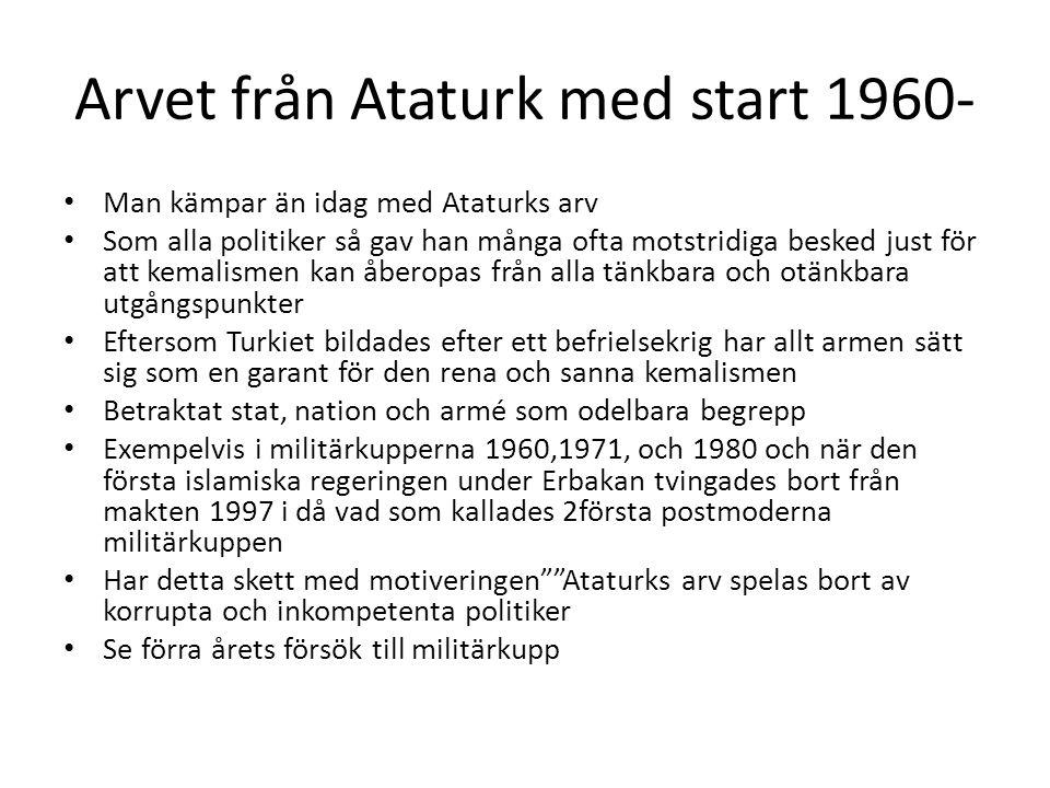 Arvet från Ataturk med start 1960-