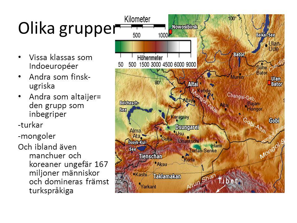 Olika grupper Vissa klassas som Indoeuropéer Andra som finsk-ugriska