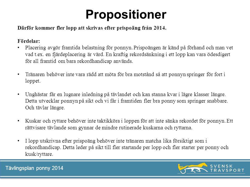 Propositioner Därför kommer fler lopp att skrivas efter prispoäng från 2014. Fördelar: