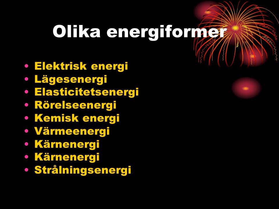 Olika energiformer Elektrisk energi Lägesenergi Elasticitetsenergi