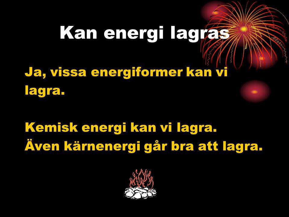 Kan energi lagras Ja, vissa energiformer kan vi lagra.