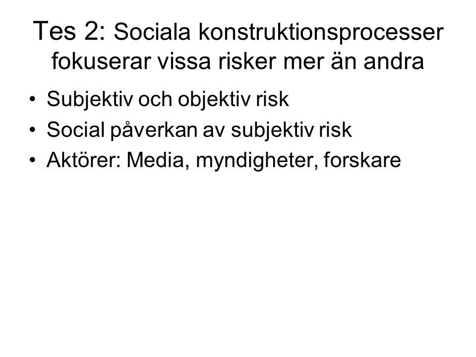Tes 2: Sociala konstruktionsprocesser fokuserar vissa risker mer än andra