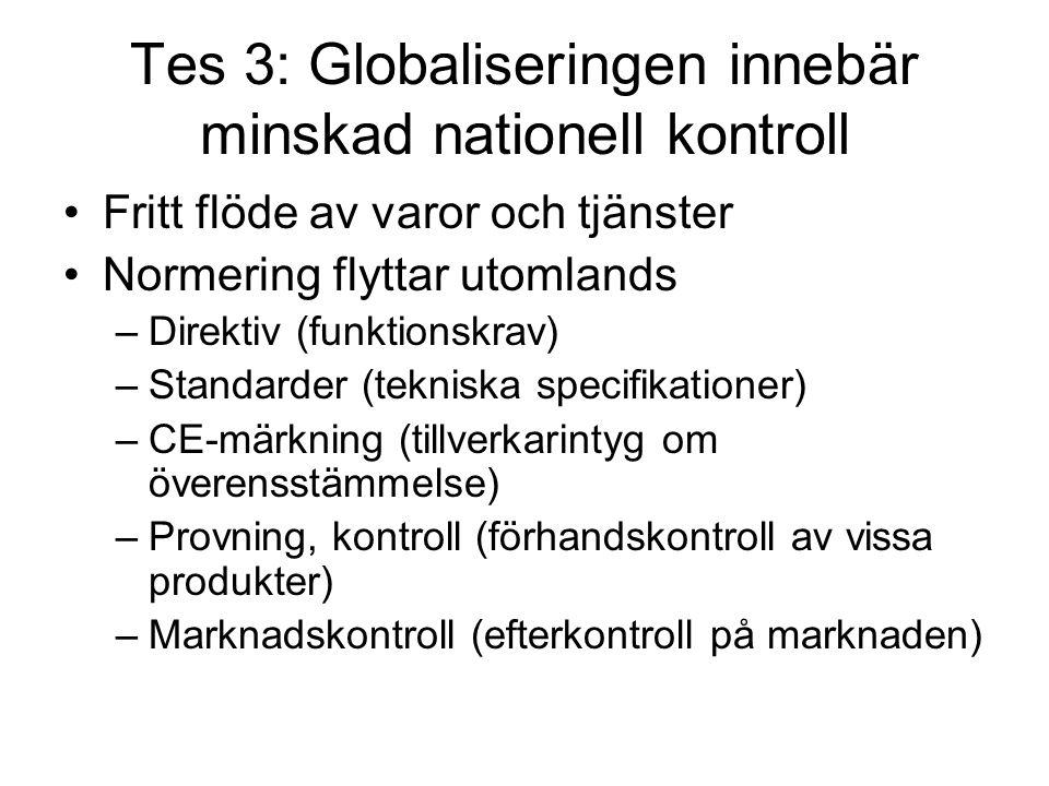 Tes 3: Globaliseringen innebär minskad nationell kontroll
