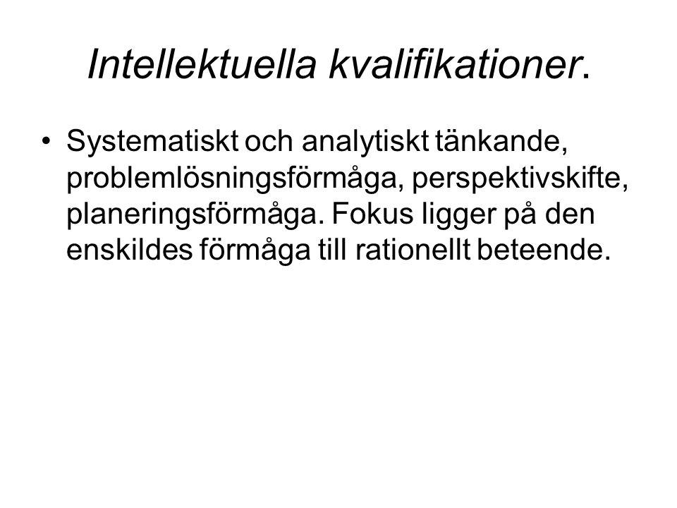 Intellektuella kvalifikationer.