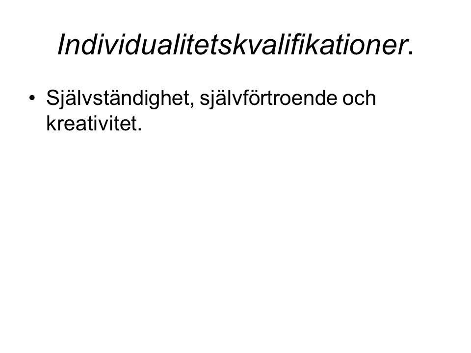 Individualitetskvalifikationer.