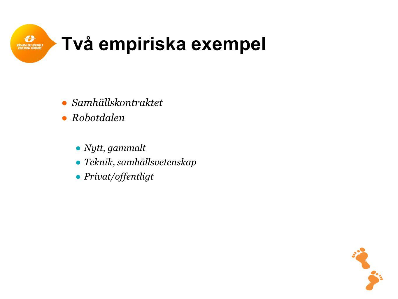 Två empiriska exempel Samhällskontraktet Robotdalen Nytt, gammalt