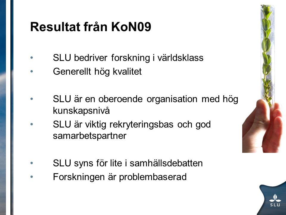 Resultat från KoN09 SLU bedriver forskning i världsklass