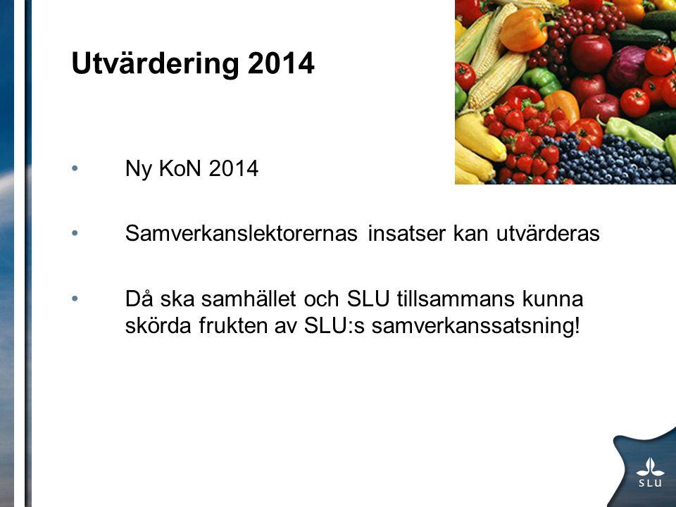 Utvärdering 2014 Ny KoN 2014. Samverkanslektorernas insatser kan utvärderas.