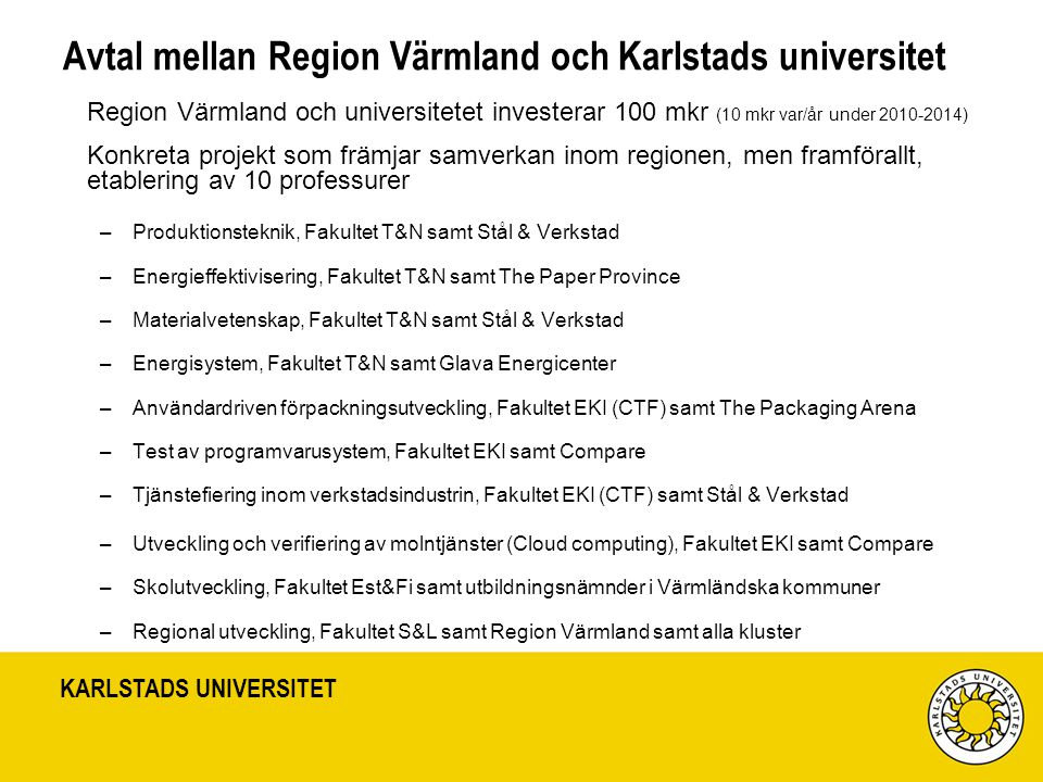 Avtal mellan Region Värmland och Karlstads universitet