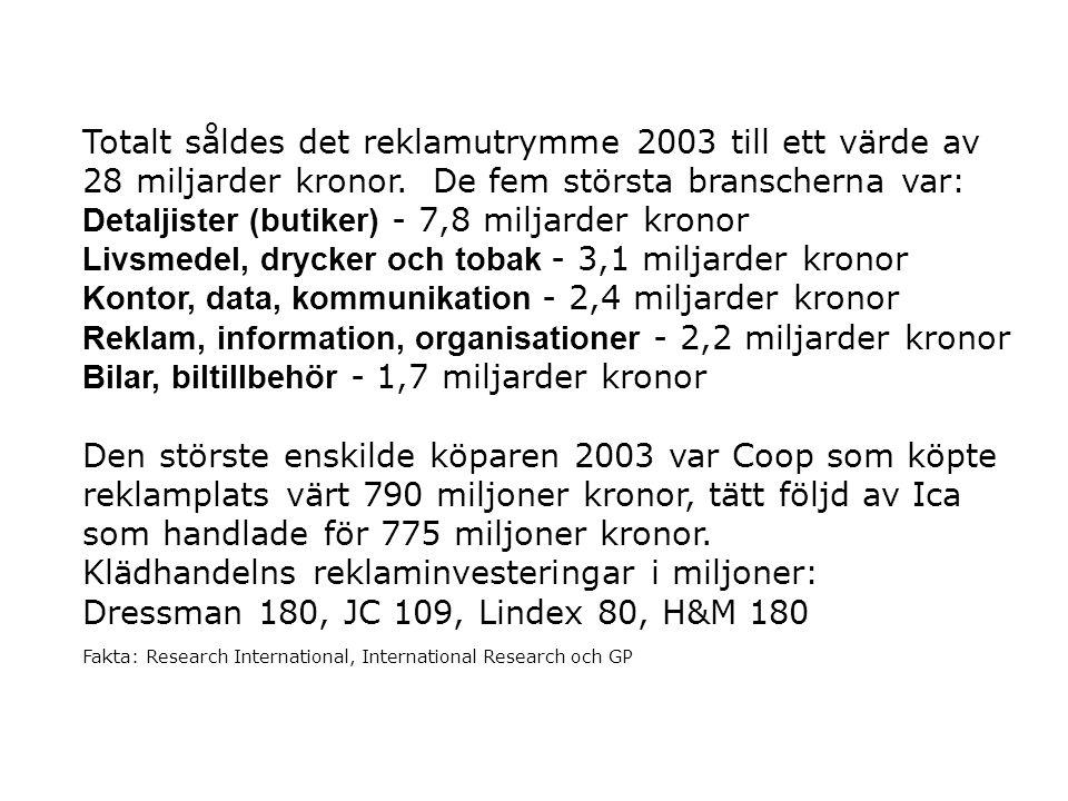 Detaljister (butiker) - 7,8 miljarder kronor