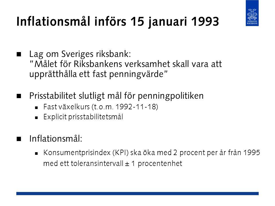 Inflationsmål införs 15 januari 1993