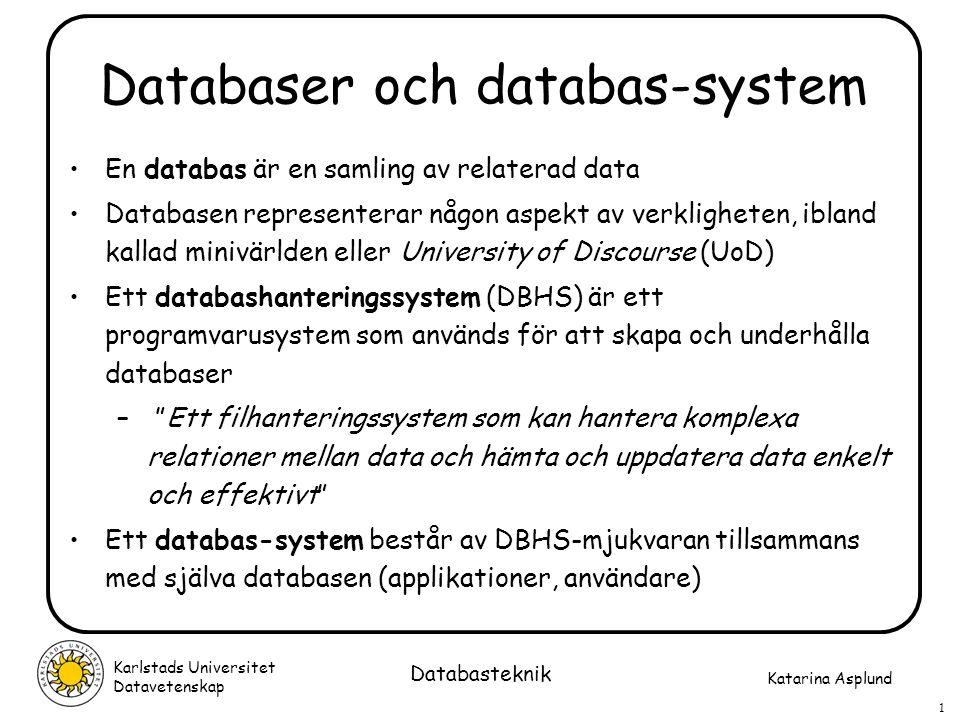 Databaser och databas-system