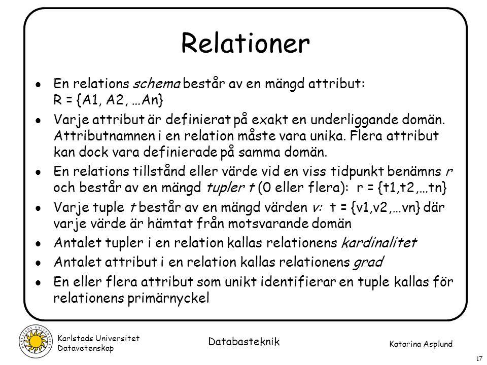 Relationer En relations schema består av en mängd attribut: R = {A1, A2, …An}