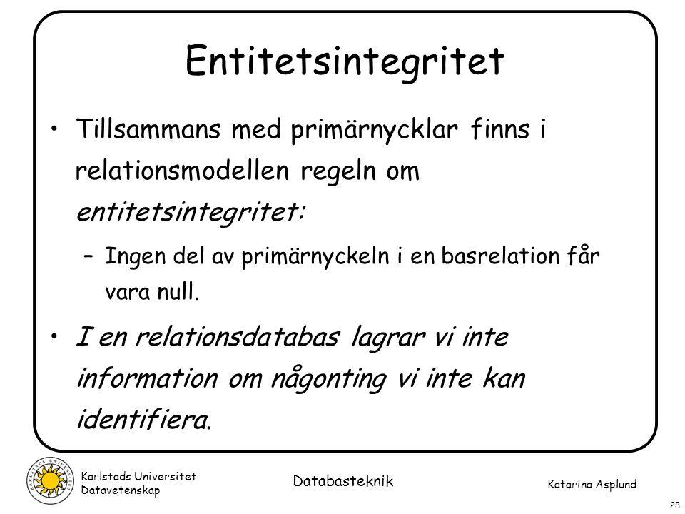 Entitetsintegritet Tillsammans med primärnycklar finns i relationsmodellen regeln om entitetsintegritet:
