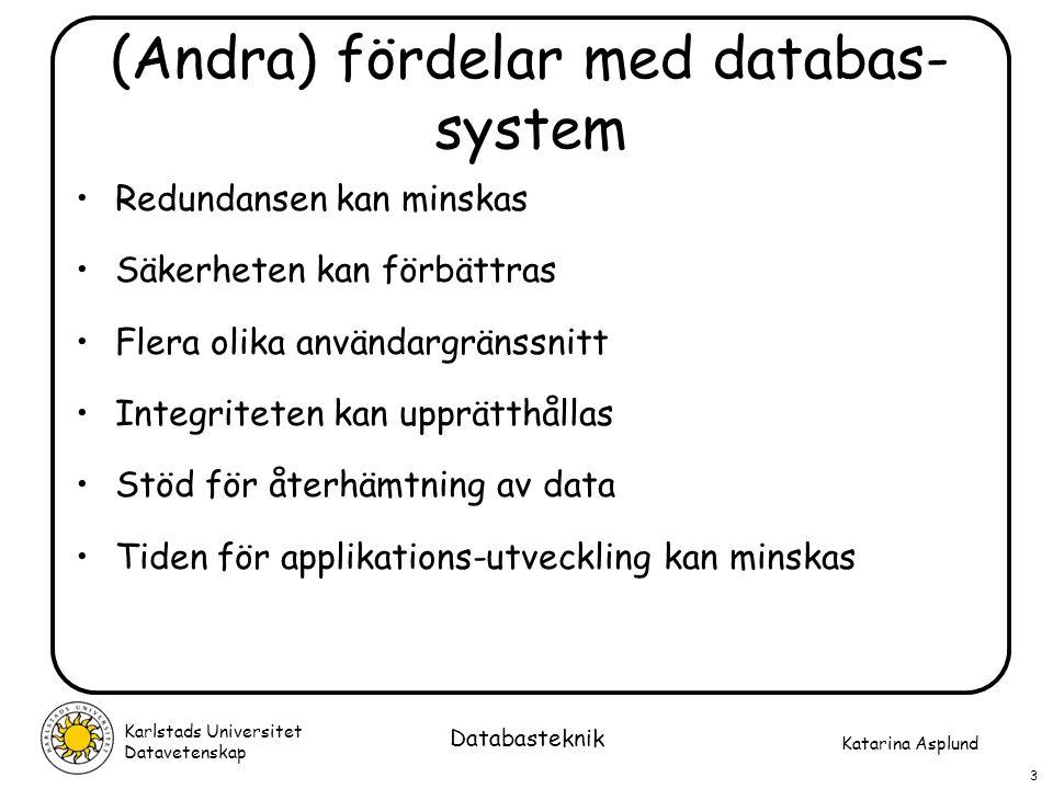 (Andra) fördelar med databas-system