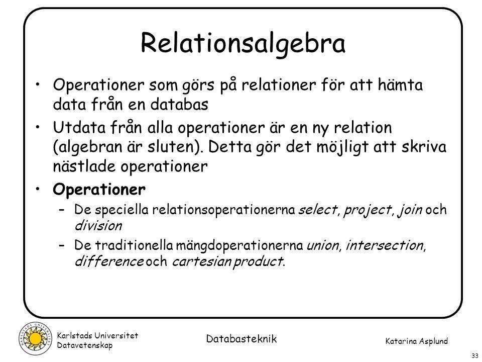 Relationsalgebra Operationer som görs på relationer för att hämta data från en databas.