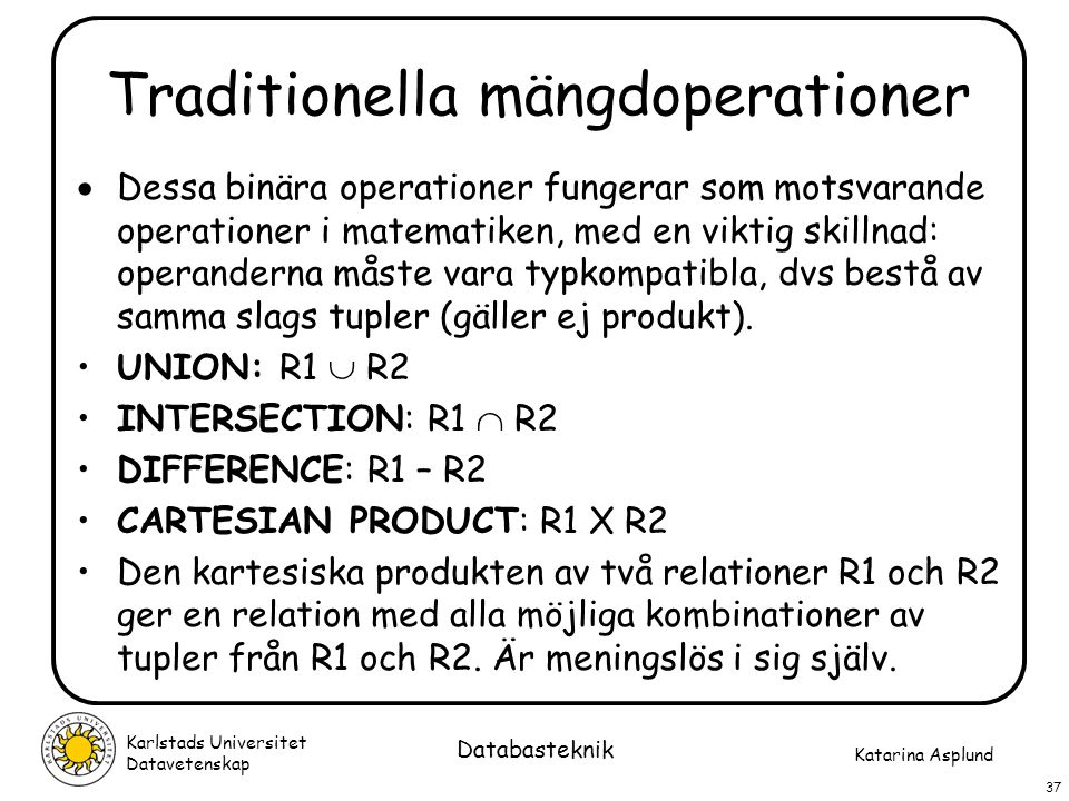 Traditionella mängdoperationer
