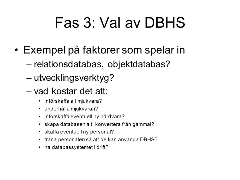 Fas 3: Val av DBHS Exempel på faktorer som spelar in
