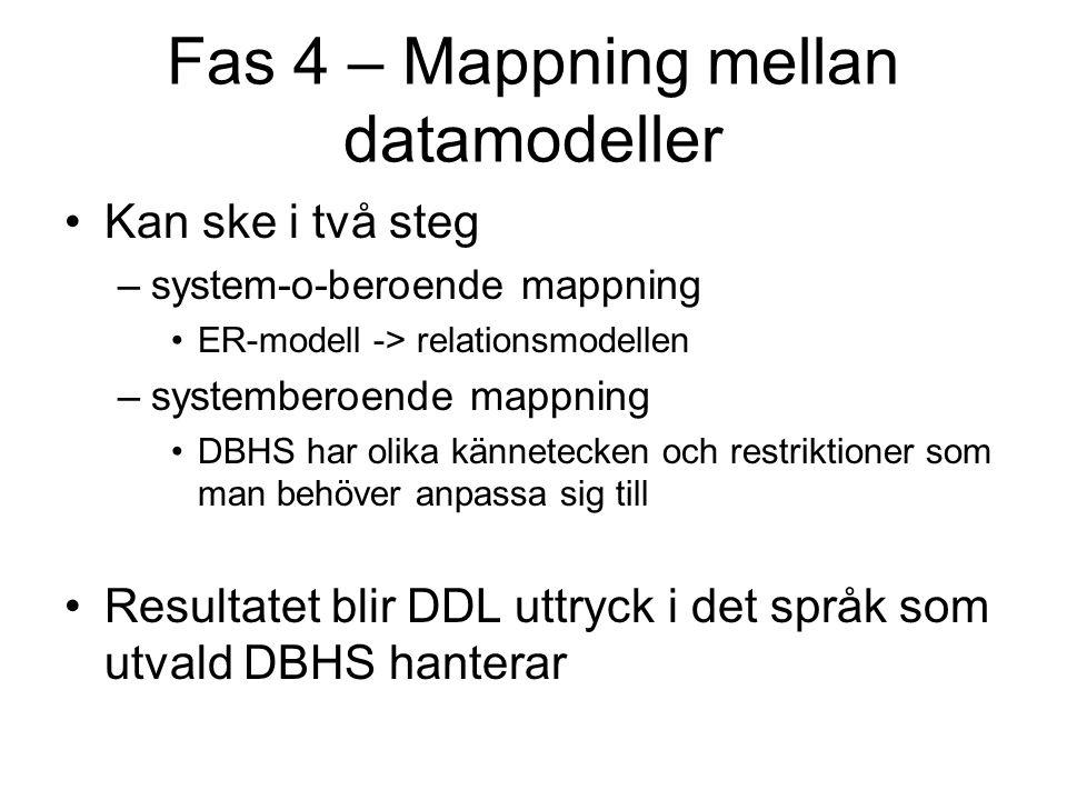Fas 4 – Mappning mellan datamodeller