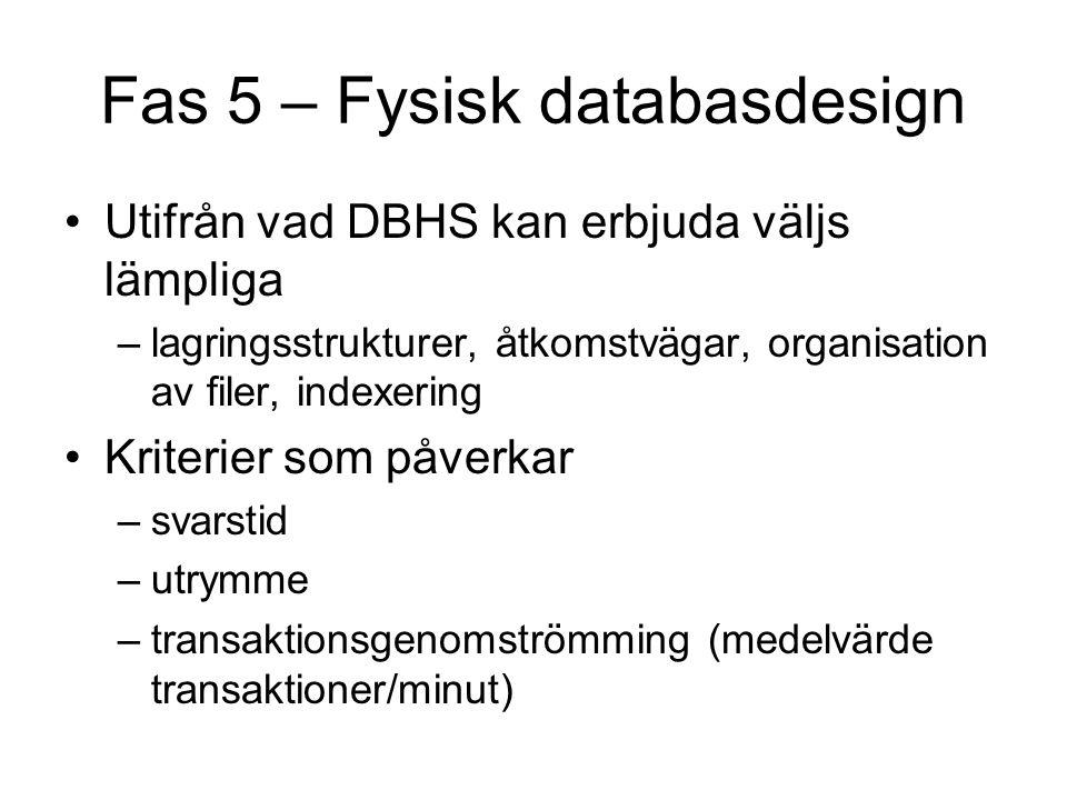Fas 5 – Fysisk databasdesign