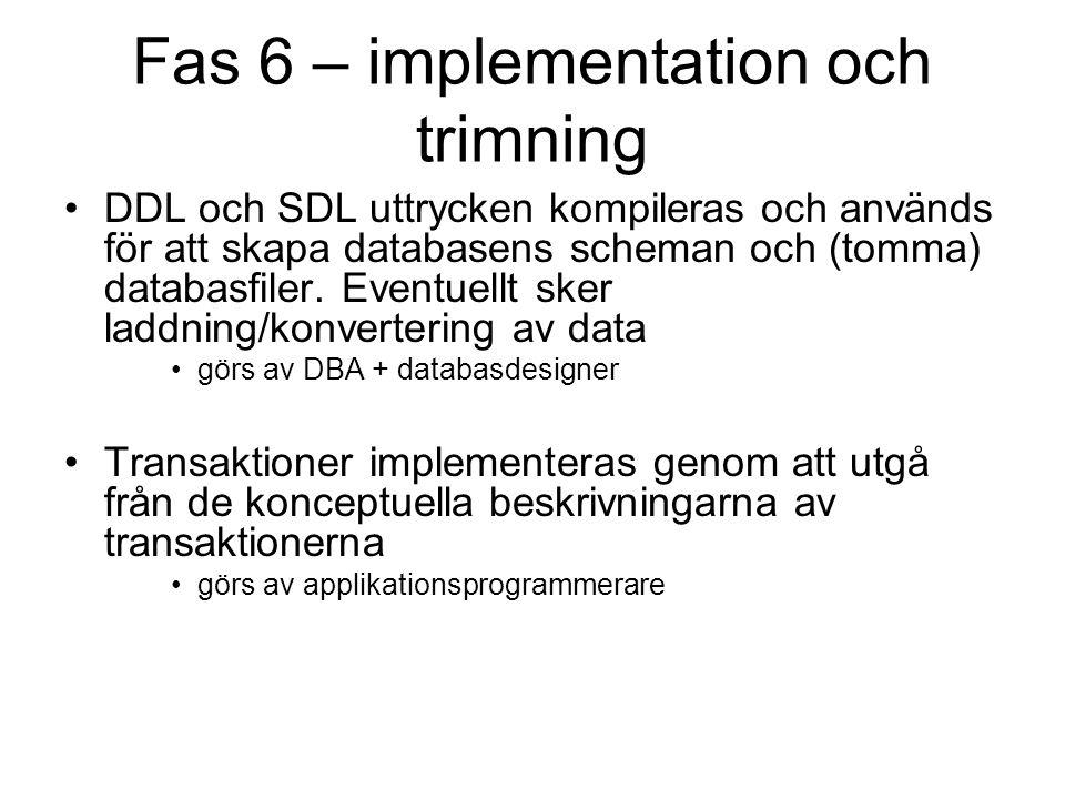Fas 6 – implementation och trimning