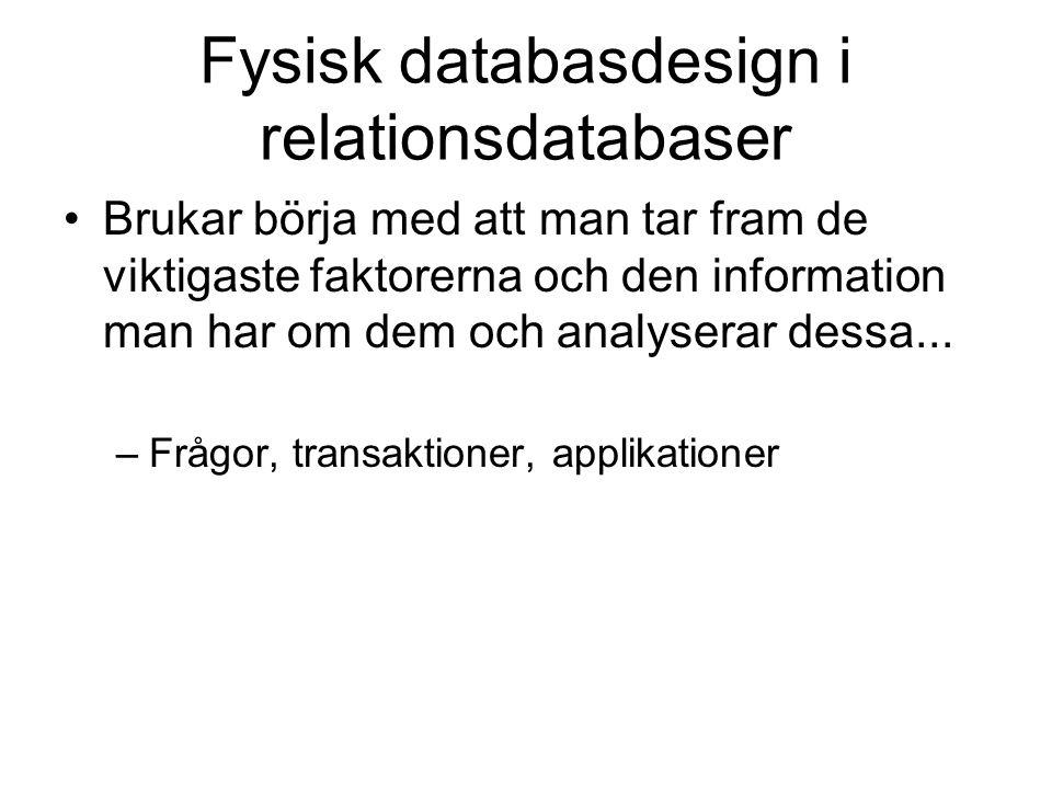 Fysisk databasdesign i relationsdatabaser