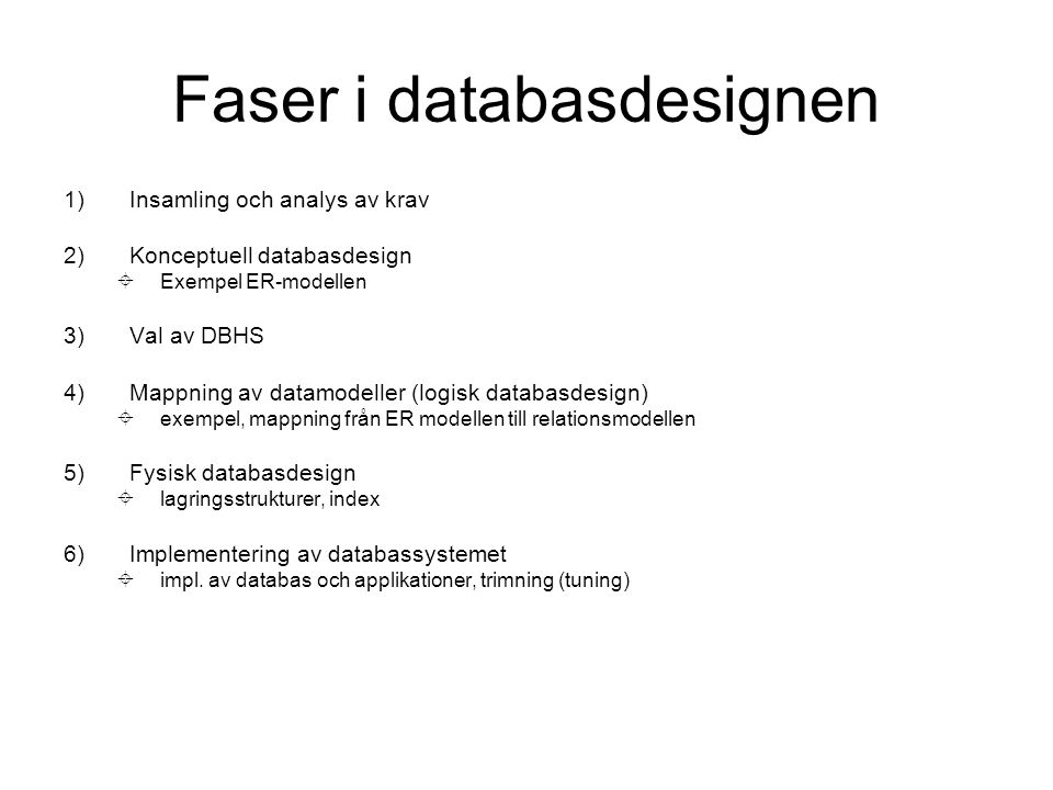 Faser i databasdesignen